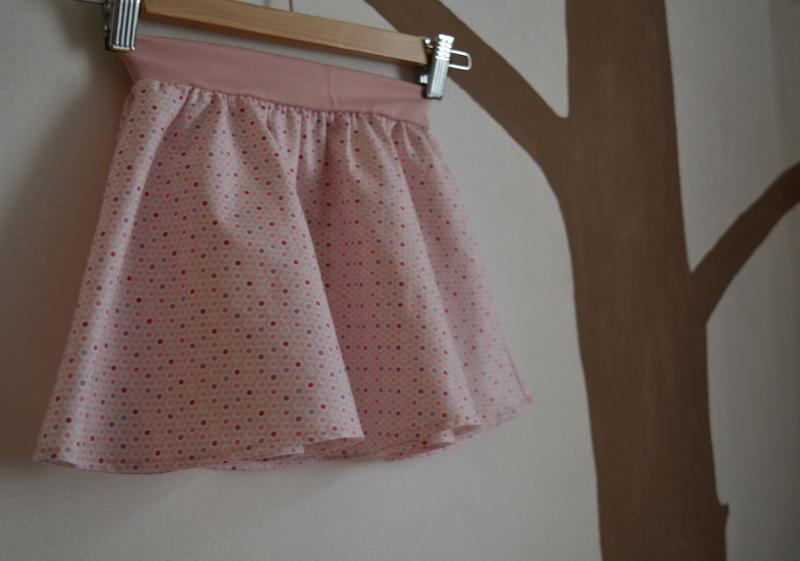 Dětská půlkolová růžová sukýnka s puntíčky   Zboží prodejce Petrushe ... 9dac920432