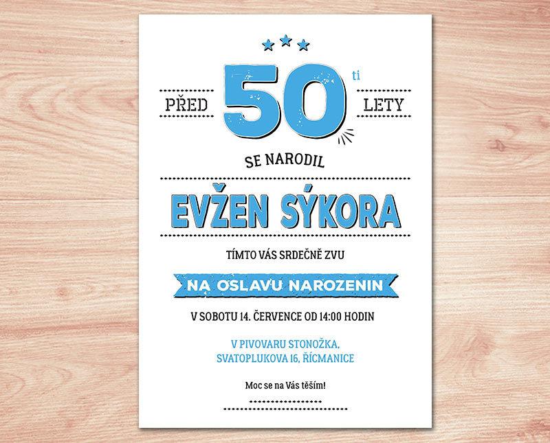 vtipná pozvánka na 50 narozeniny Pozvánka na oslavu 50. narozenin II. (No.105c) (modrá) / Zboží  vtipná pozvánka na 50 narozeniny