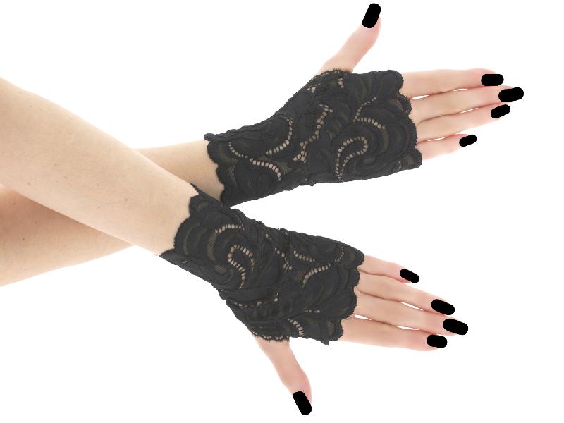81b2f9b069d Společenské černé krajkové rukavice 01BA   Zboží prodejce Gothic ...