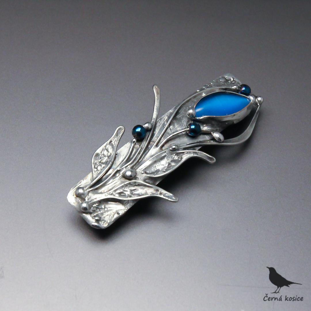 Modravé poupě (Sklo+Hematit)-spona do vlasů menší   Zboží prodejce ... 37a3b09068