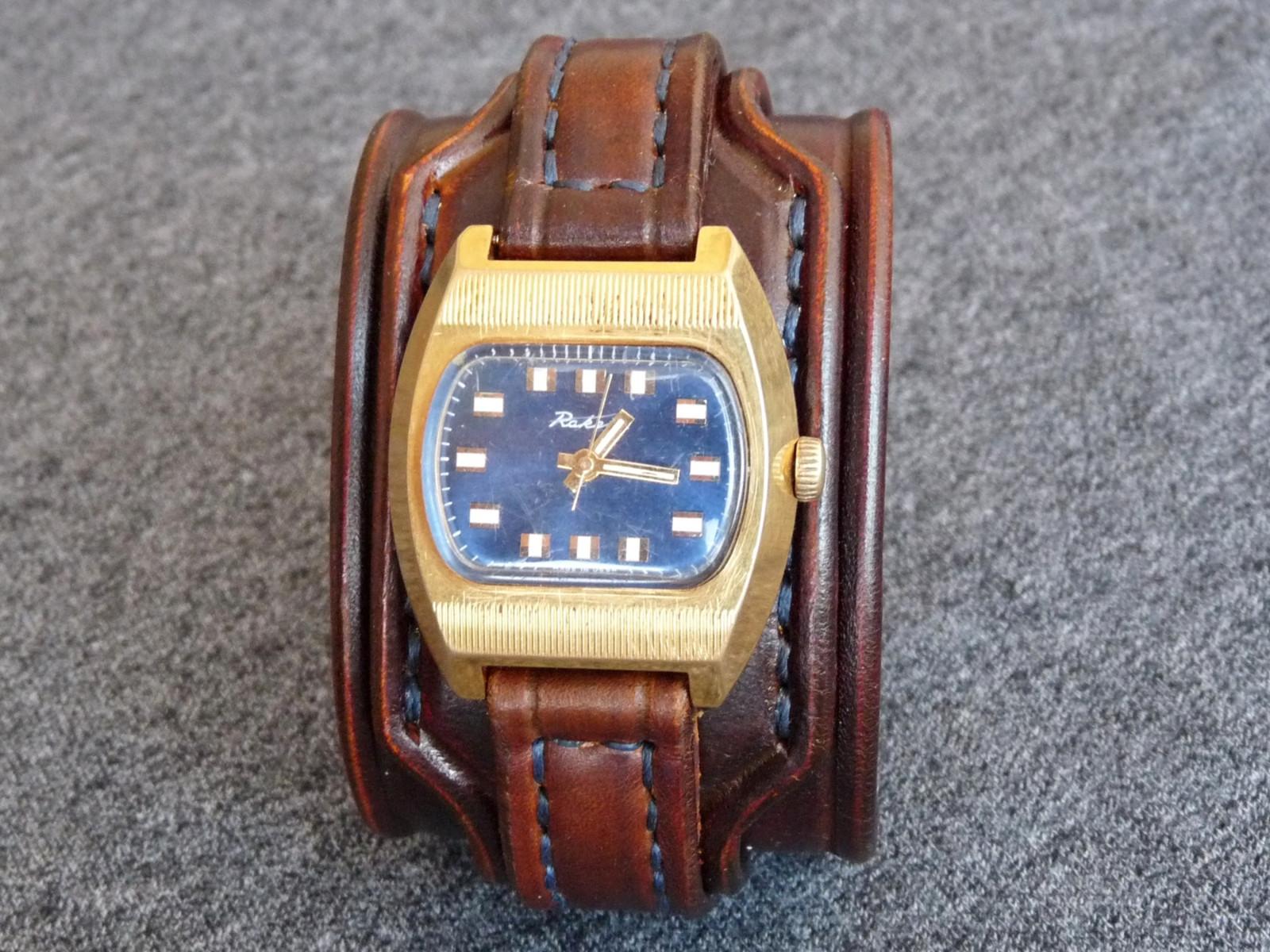 294dd4aebbe Černý kožený pásek na hodinky RAKETA   Zboží prodejce leon6