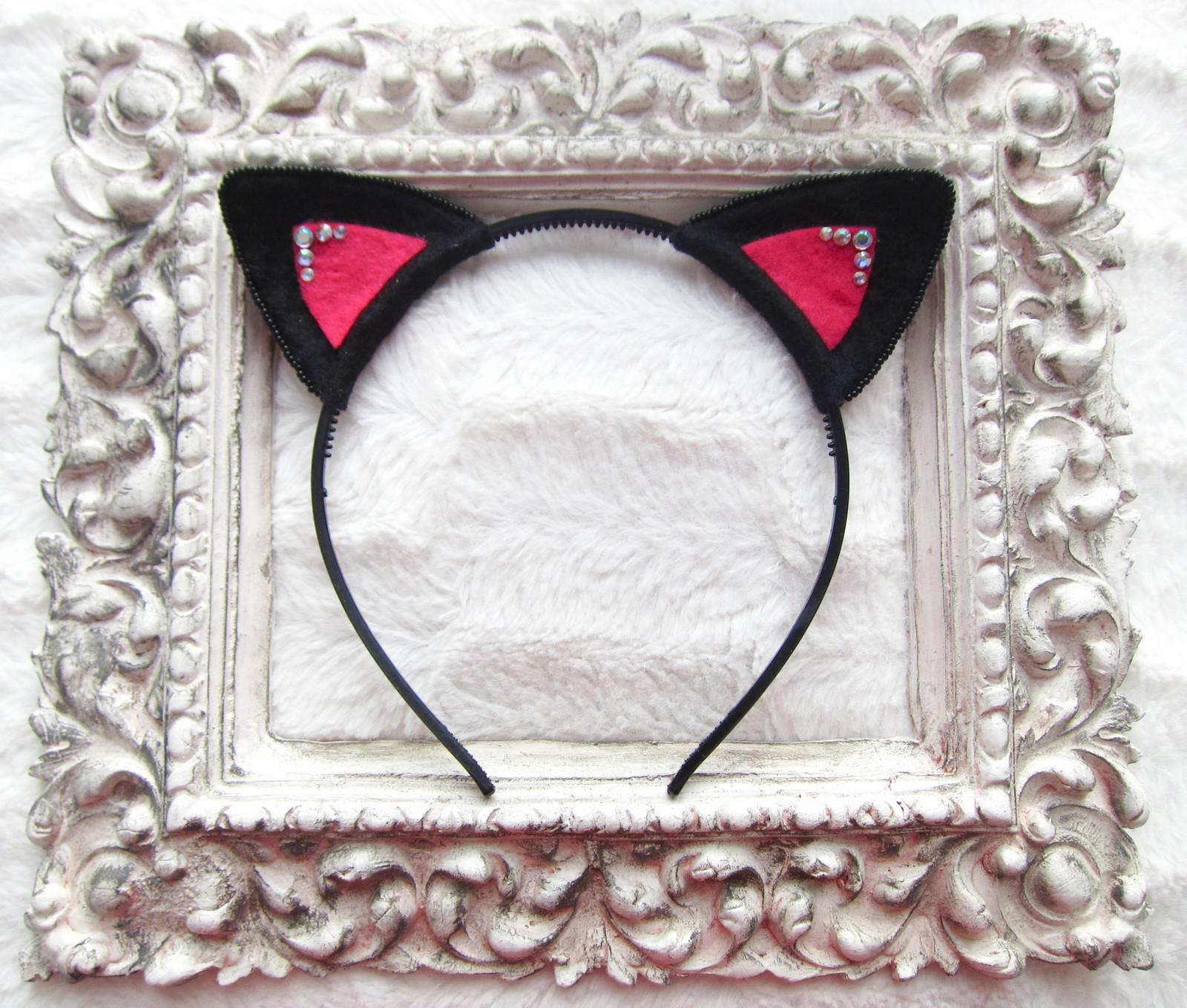 Čelenka kočičí uši - černé s krystaly   Zboží prodejce Dragonicca´s ... 7ba7c08143