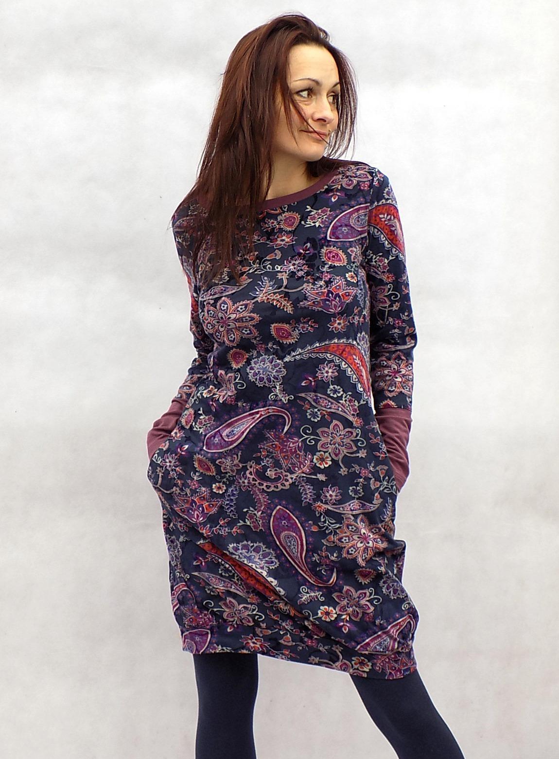 Vzoraté balónové šaty...vel.M L   Zboží prodejce LaPanika  a77ebd63512