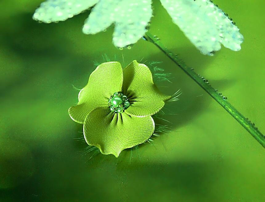 Zelená nylonová kytička v peří   Zboží prodejce PresentsRadka  b19479910e