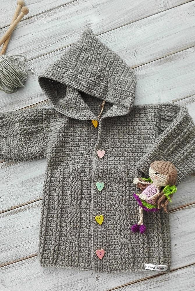 Háčkovaný kabátek svetr s kapucí - šedý   Zboží prodejce EL-Babymode ... af44508bdb