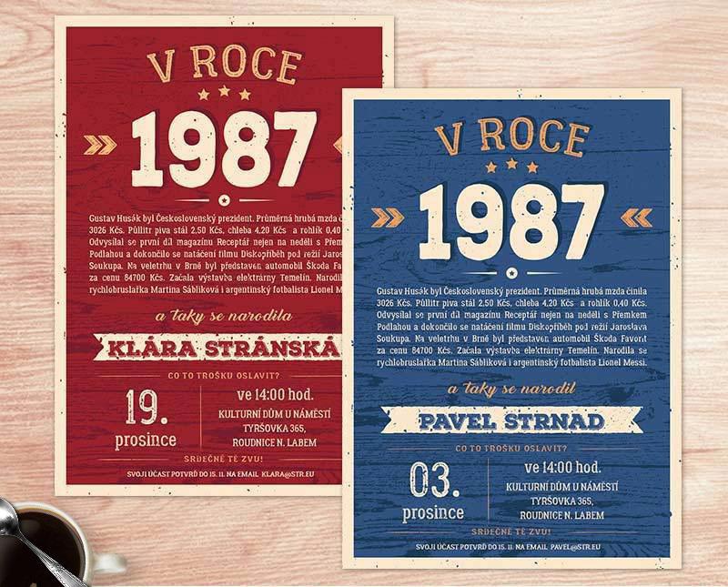 pozvánka na 30 narozeniny Co se stalo v roce 1987   pozvánka na 30. (No.76a) (modrá) / Zboží  pozvánka na 30 narozeniny