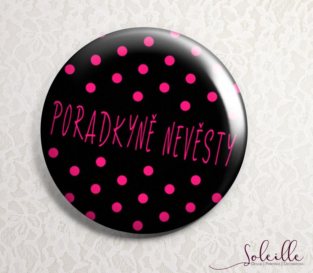 5cd2e8ca34c Svatební placky - černé s růžovými puntíky (Zrcátko 56mm)   Zboží prodejce  soleille-svatební