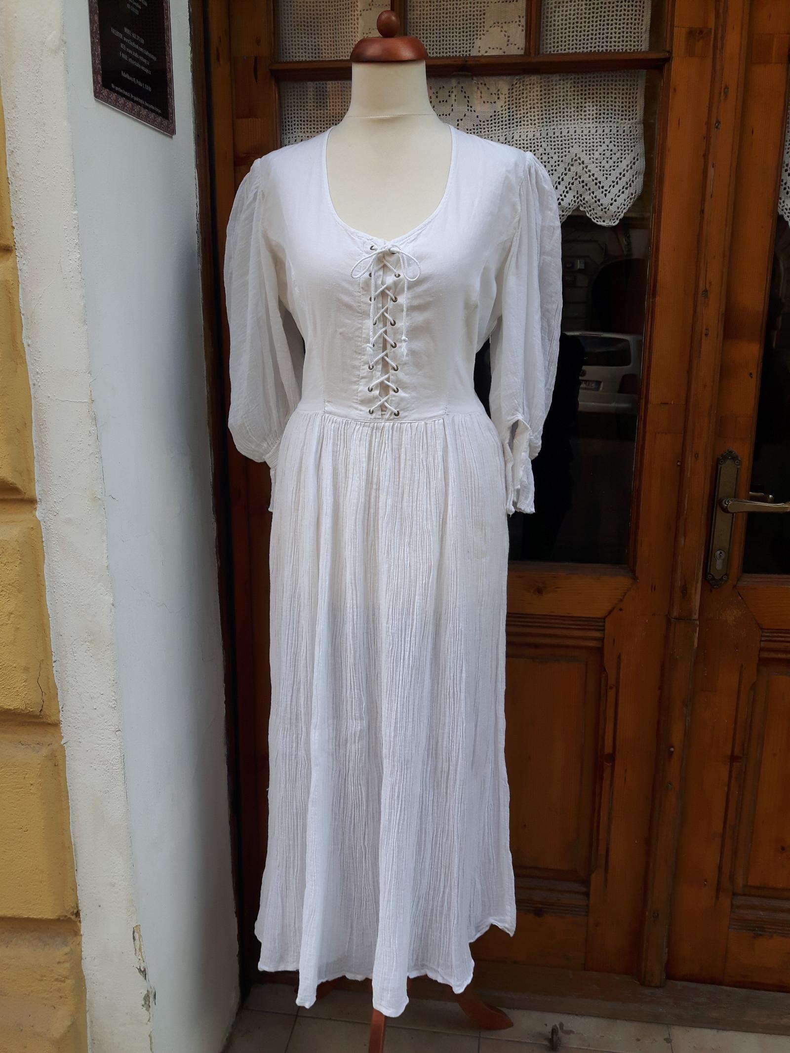 Bílé bavlněné šaty se šněrováním   Zboží prodejce Studio Vintage ... 060ee05227