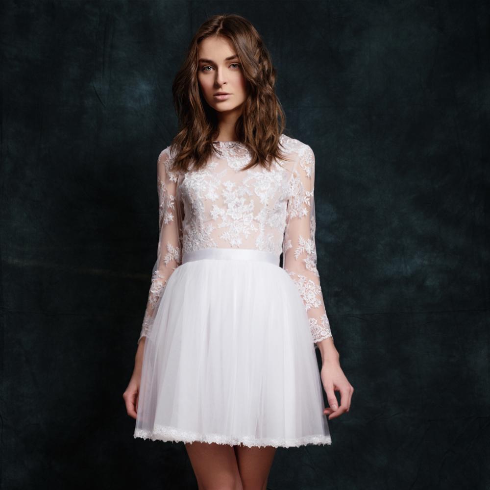 d3df1abee707 Krátké tylové svatební šaty s dlouhým rukávem   Zboží prodejce Dyona ...