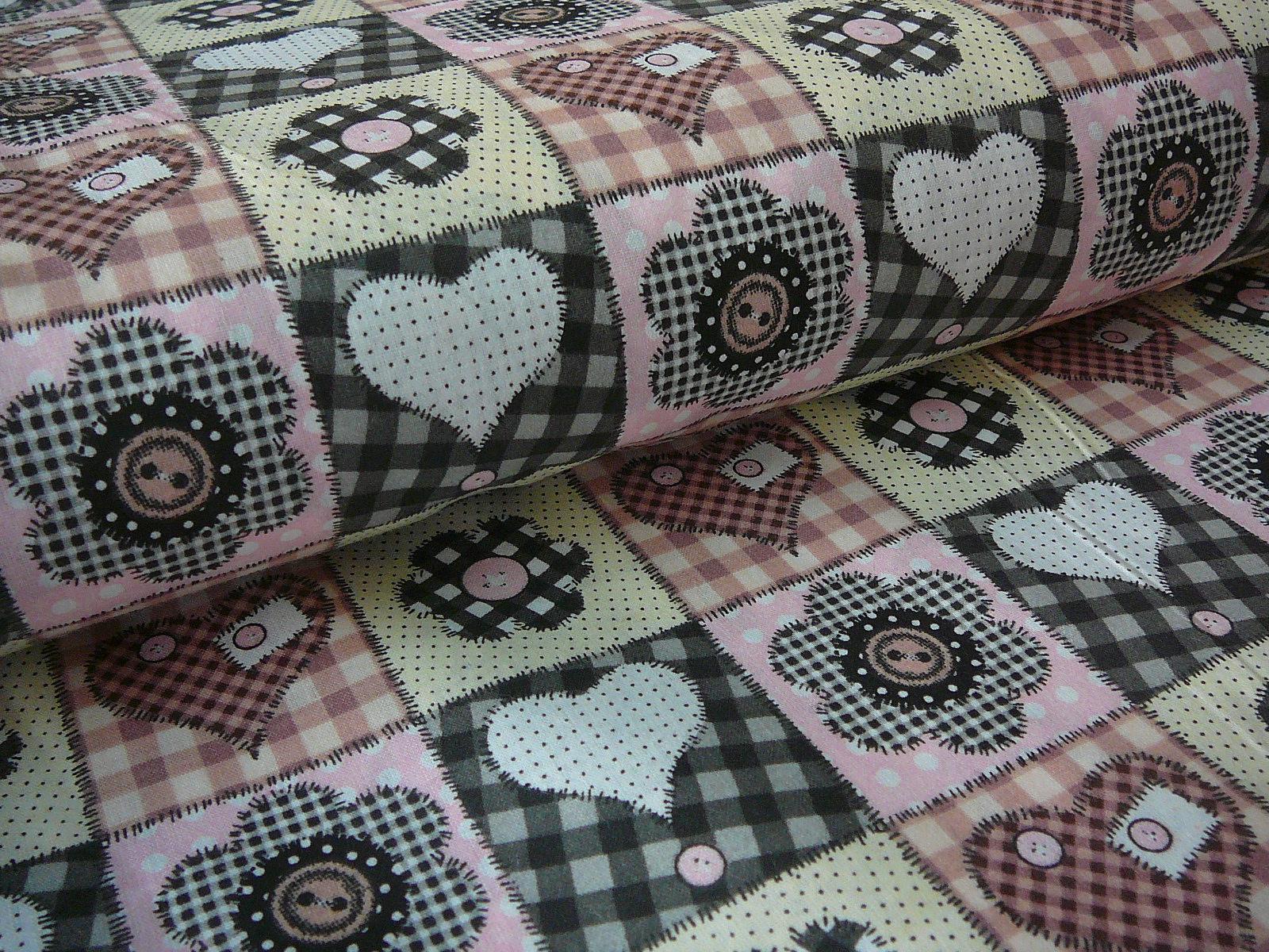 a0338e77e metráž - růžovošedý patchwork - posledních 65cm / Zboží prodejce ...