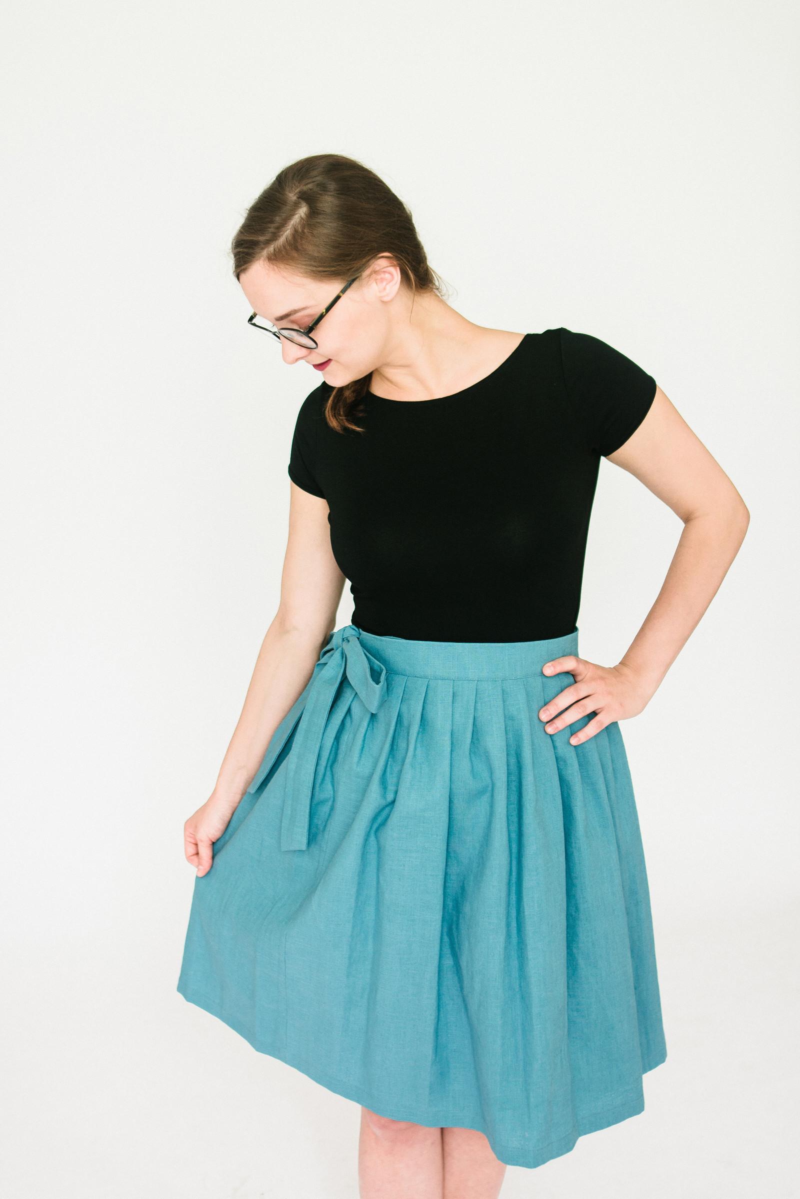 Lněná zavinovací sukně (světle modrá)   Zboží prodejce Reparáda ... 07ae8597c6