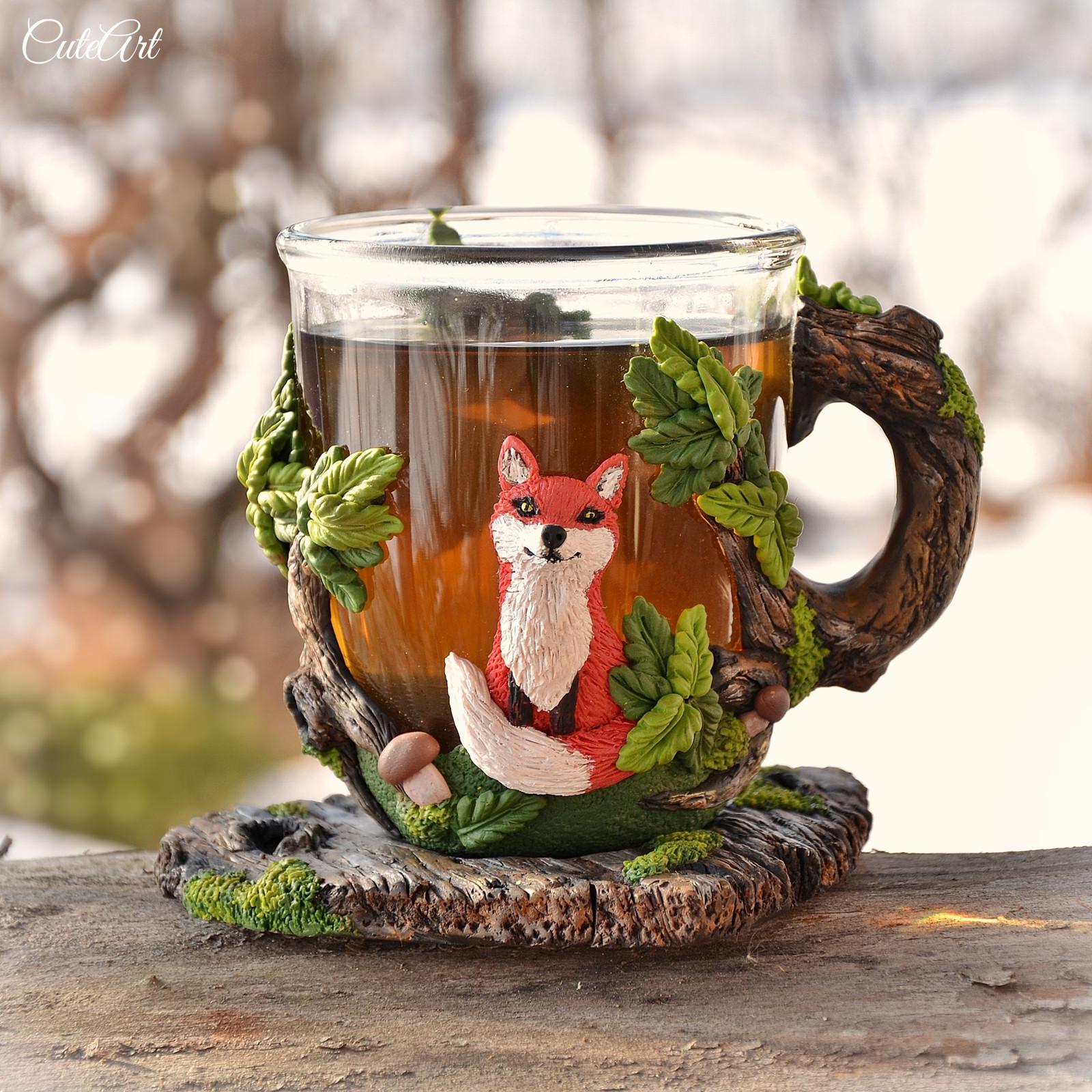 Čaj u lesa - hrníček na čaj s liškou   Zboží prodejce CuteArt  ef76963a11b