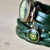 e6349a304 ZELENÉ ELEGANTNÍ HODINKY, omotávací hodinky