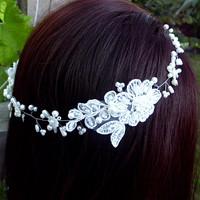svatební krajkový věneček do vlasů - Ivory 1435ba4329