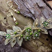 009ac6186fc vlasová ozdoba - zlatá krajka + olivová + náušnice