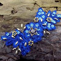 da4a57f8144 krajková ozdoba do vlasů - královská modrá + zlatá