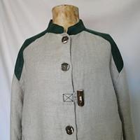 1564938d225 Dobová lněná košile se zelenou vel 40-42 M