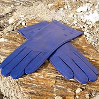 Modré kožené rukavice s hedvábnou podšívkou 5145d80060