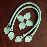 Kožená ucha na kabelku 43 - 46 cm - světlé modrá db8b6a7cd73