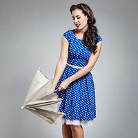 6c2b8d9fe847 Královské modré šaty s bílým puntíkem