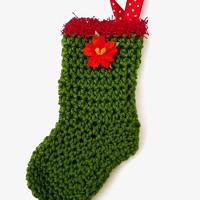 404358a3493 Vánoční   mikulášská háčkovaná ponožka Nr. 7