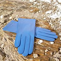 Světle-modré kožené rukavice s hedvábnou podšívkou 8d64f73c24