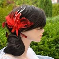 963bc7e0fbe Svatební ozdoba do vlasů Claudine champagne gold · O.  . Svatební spona do  vlasů peří červená