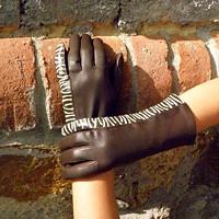Hnědé safari kožené rukavice s hedvábnou podšívkou 6b2b44824a