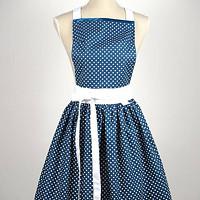 a24df25e6a15 KUCHYŇSKÁ ZÁSTĚRA RETRO s puntíky modrá