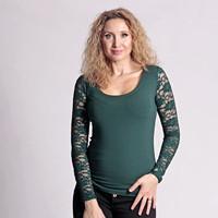 Zelené tričko s dlouhým krajkovým rukávem 06cd35426b