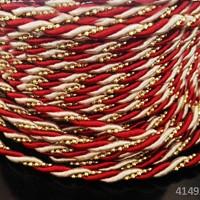 41492-B12 luxusní kroucená šňůrka zlato  BORDÓ bc513c9197d