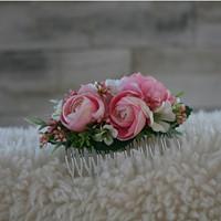 c0f26b58714 Hřebínek do vlasů s pryskyřníky do růžova