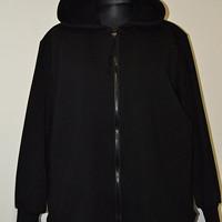 Nadměrná mikina černá na zip s kapucí 150-210 cm fa45fc4e90