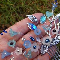 5765be62fea hřebínek do vlasů - modré zvonky + stříbrná