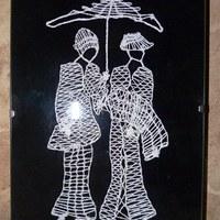 f933ffee79ad Obrázek dámy s deštníkem - paličkováná krajka