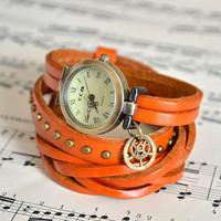 05182deab ORANŽOVÉ ELEGANTNÍ HODINKY, omotávací hodinky