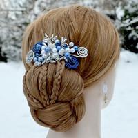4c553733763 Svatební spona do vlasů modrá Vilemína · O.  . Svatební ozdoba do vlasů  Claudine champagne gold