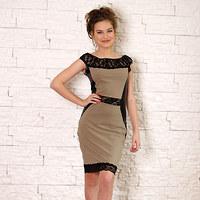 Elastické béžové šaty pouzdrového střihu s krajkou 64a08fd4ed