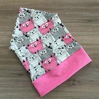 b772ec5f9 Šátek na hlavu - kočky růžovo-šedé (Velikost 54cm a více )