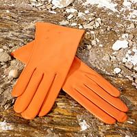 Oranžové kožené rukavice s hedvábnou podšívkou 83f416fc52