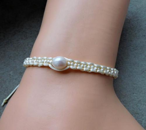 Náramek - Bílá říční perla