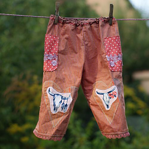 Vřesové ...kalhoty vel 1-2,5 roku kanafasové