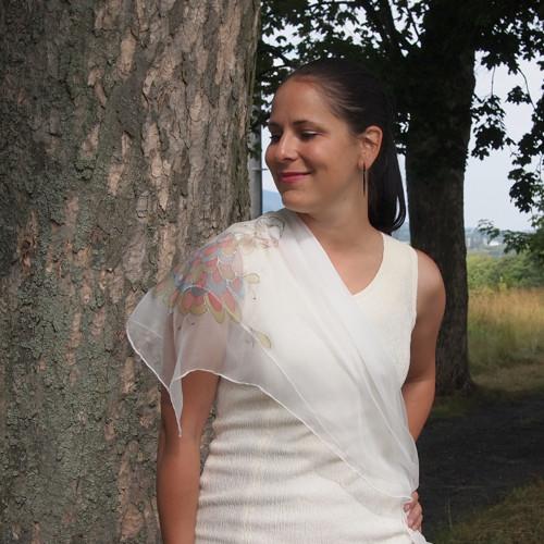 Hedvábný šifonový šátek 90x90 - Pro nevěstu?