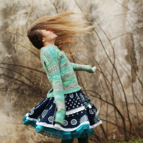Modrotisková II... slečinkovská sukně XS/S