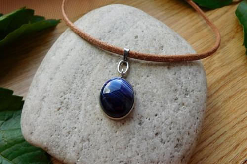 Náhrdelník   - kožený s nerezem a kameny
