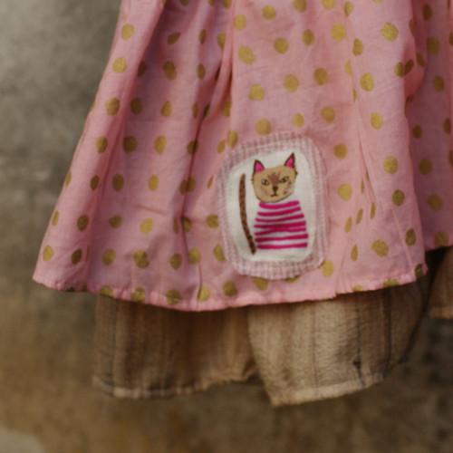 Kočka vrůžové ...sukýnka 3-6 let BIO