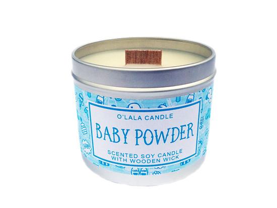 Baby Powder - Sójová svíčka s dřevěným knotem O'lala Candle