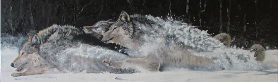 Vlci ve sněhu - olej na plátně