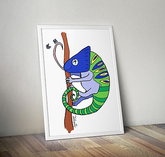 Ilustrace chameleona
