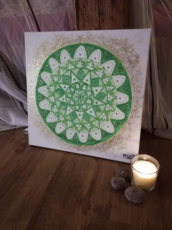 Zelená mandala na přání